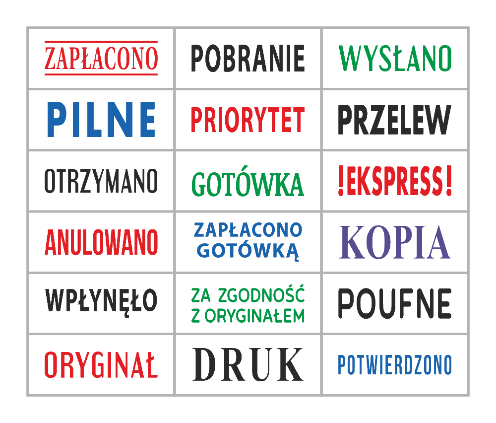 Gotowe pieczątki z już przygotowanym tekstem || sklepPIECZATEK.pl